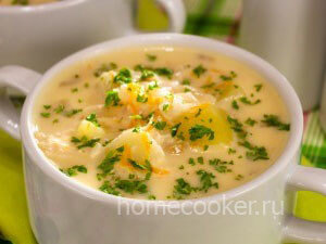 Готовый сырный суп