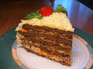 Готовый торт из печени