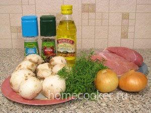 Ингредиенты для куриного филе с грибами