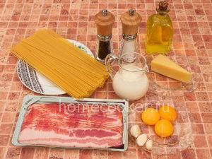 Ингредиенты для пасты Карбонара