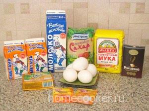 Ингредиенты для торта зебра