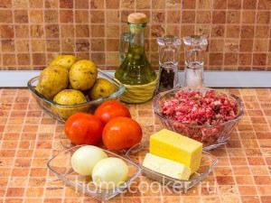 Ингредиенты для запеканки с фаршем