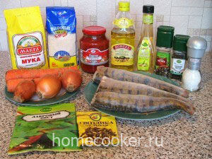 Ингредиенты рыбы под маринадом