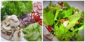 Измельчам, перемешиваем овощи